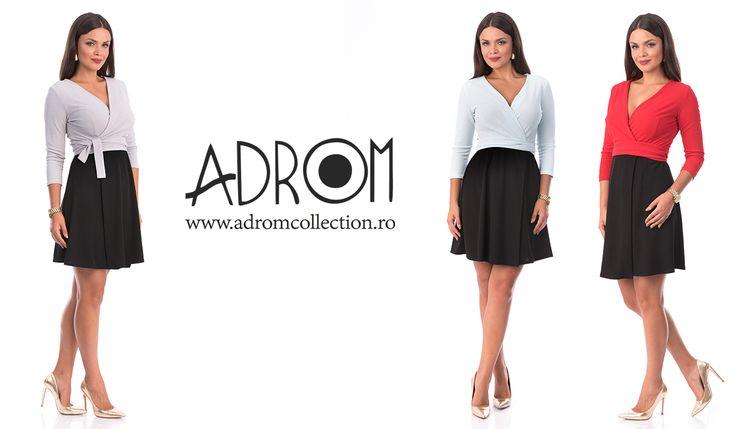Rochia R677 este acum disponibilă pe: bleu, gri şi roşu. Comandă şi tu cu un singur click aici:   Link rochie R677: http://www.adromcollection.ro/rochii/782-rochie-angro-r677.html