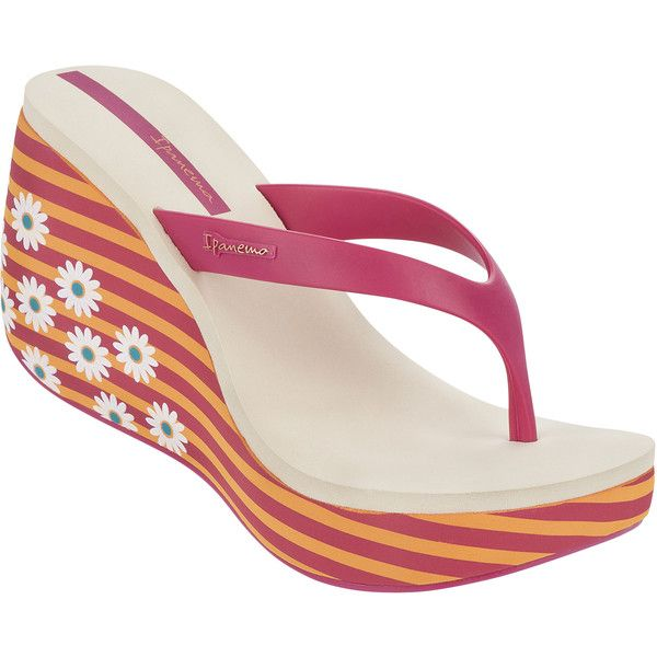 Ipanema Pink And Orange Wedge Flip-flops - Lipstick Thong Iii -... ($28) ❤ liked on Polyvore featuring shoes, sandals, flip flops, orange, wedge flip flop sandals, pink flip flops, wedge flip flops, pink sandals and beige sandals