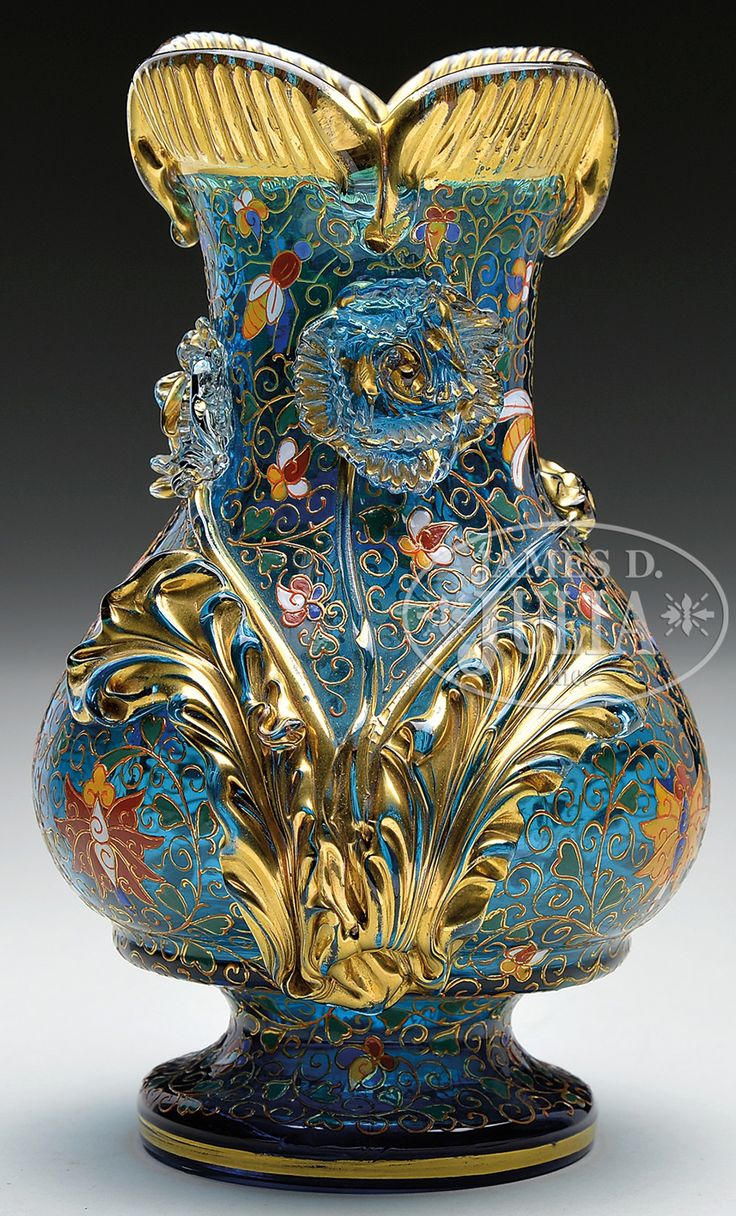 MOSER DECORATED & APPLIED VASE.