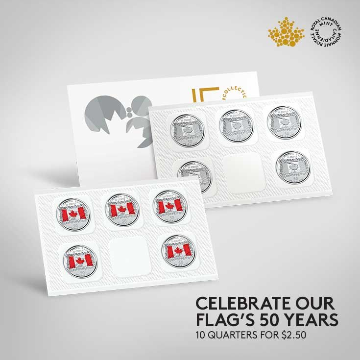 Five coloured and five non-coloured beautifully crafted limited-edition quarters. Sealed as a special keepsake, these coins celebrate more than just an anniversary; they also feature 50 children who represent the flag's 50 years, as well as Canada's future.