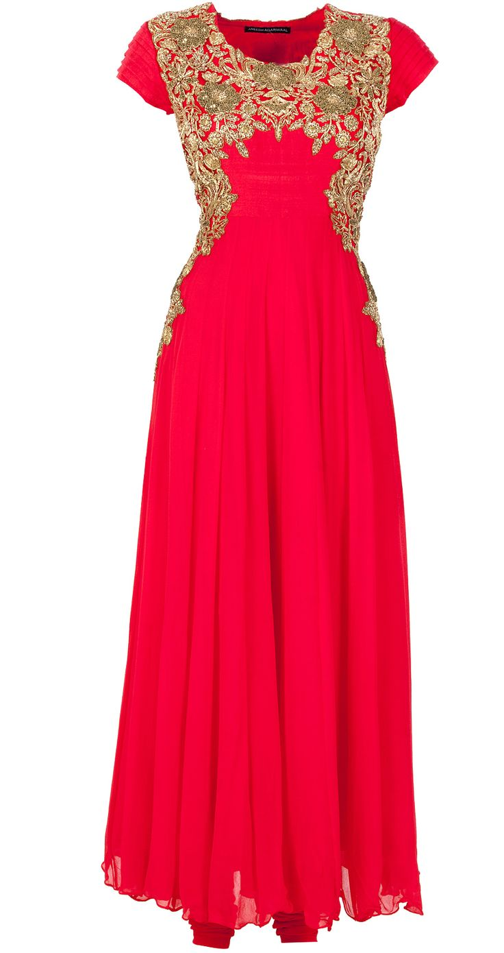 Red zari embroidered anarkali suits pinterest indian shops