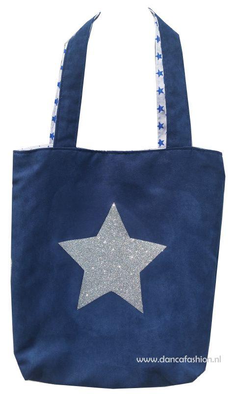 Shopper donkerblauw met zilveren glitter ster