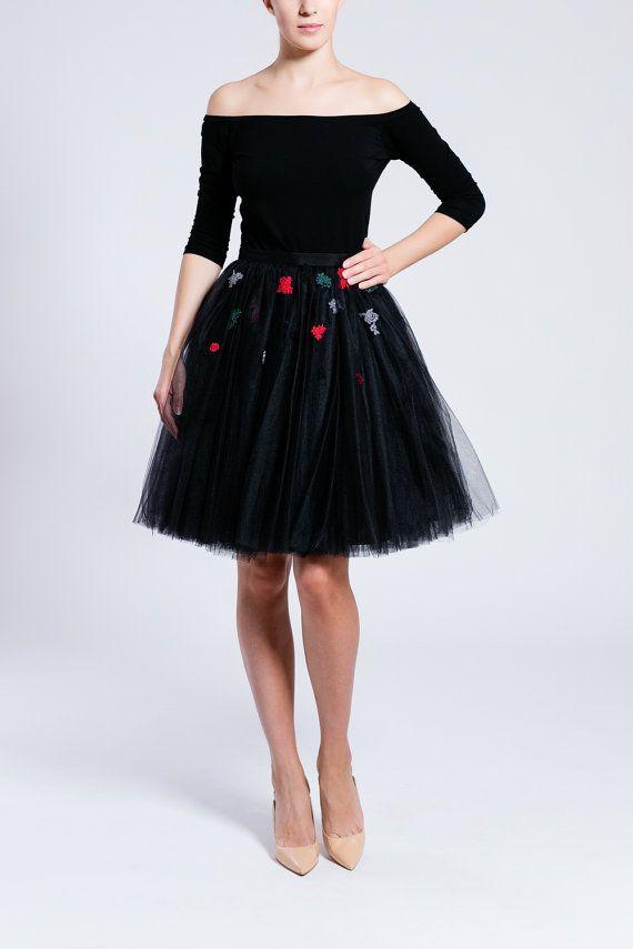 falda tutú negro falda de tul hecho a mano falda de por Fanfaronada
