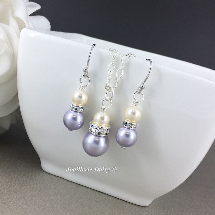 Bridesmaid Gift Jewelry Set Lavender Swarovski Jewelry Pearl Necklace Earring Bridesmaid Jewelry Maid of Honor Gift Lavender Wedding by dcjoaillerie on Etsy https://www.etsy.com/ca/listing/505373618/bridesmaid-gift-jewelry-set-lavender