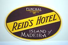 Original REID'S HOTEL Funchal MADEIRA Vintage Travel Luggage / Suitcase Label