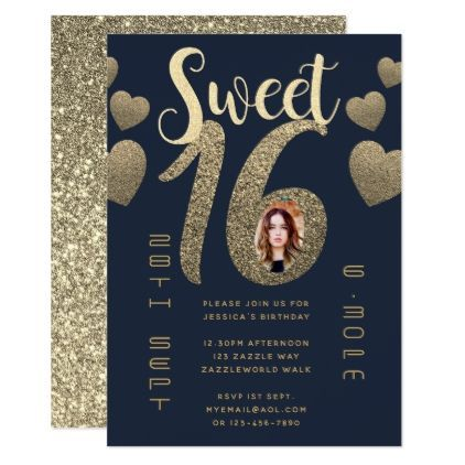 Modern SWEET 16 PHOTO Invite BLUE GOLD Glitter