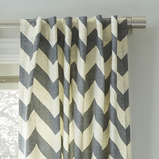 """Cotton Canvas Zigzag Curtain, 48""""x108, Feather Gray"""
