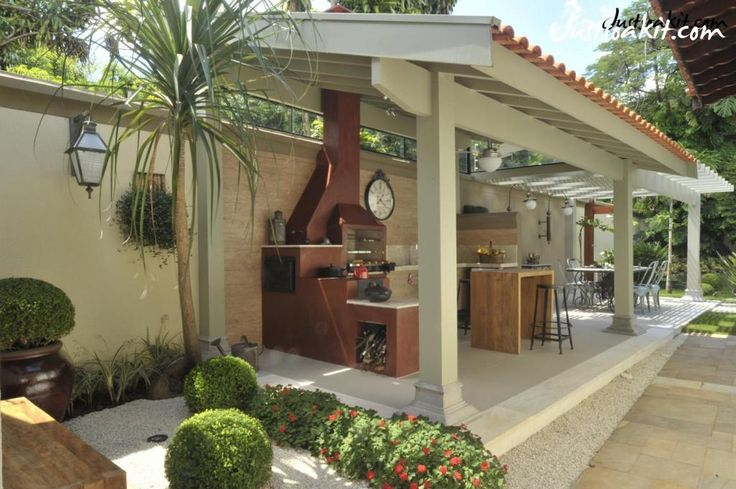 Stunning Decorate Garden Idea With Outdoor Kitchen And Bar Stools Idea Under Gazebo As Well Dining Table Set Including Flower Garedn Idea In The Nearby Ideas to Decorate The Garden at Low Cost Exterior design