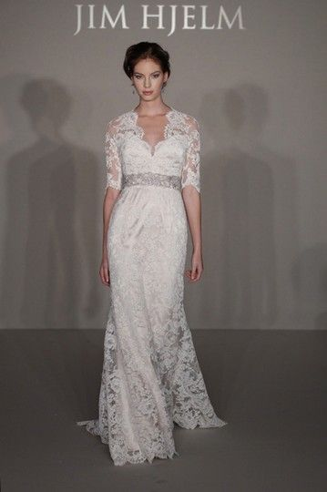 91bd11f6c2ad Jim Hjelm Ivory Alencon Lace Over Champagne Charmeuse 8211 Bridal Gown  Sleeve Train 0 2 4 Traditional Wedding Dress Size 0 (XS)