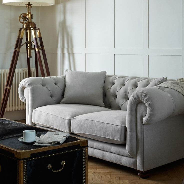 photographed in romo linara feather grey our charming luxury chesterfield designer sofa is a take