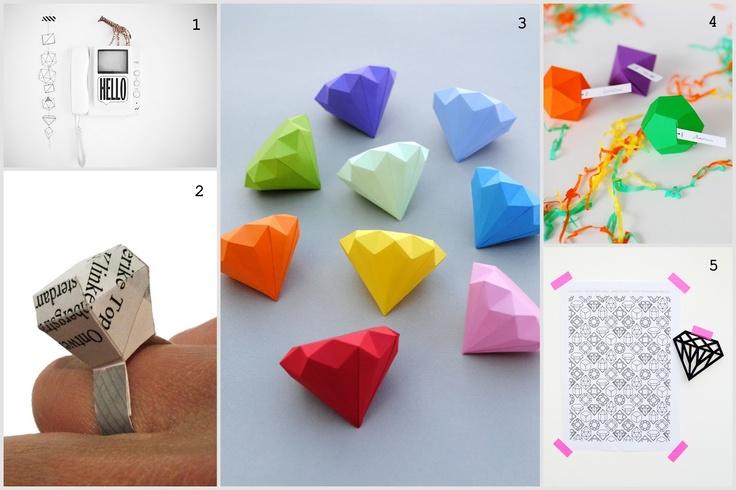 inspiration and realisation: DIY Fashion + Home: Do-Inspire-Yourself #13 - paper diamonds tutorials