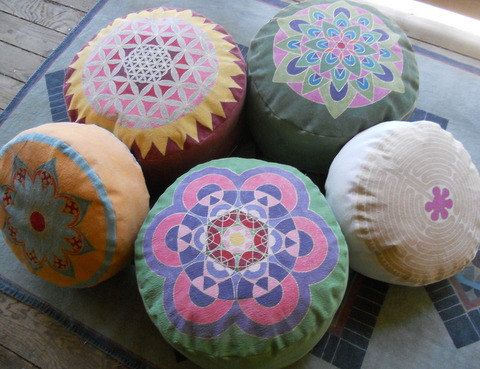 """#Meditation Pillows Hand painted canvas pouf """" the fruit of life flower"""", #sacred geometry, Metatrons cube, #healing energy"""