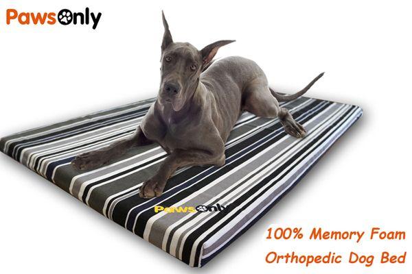 Extra Large Stripe Comfort Memory Foam Dog Bed