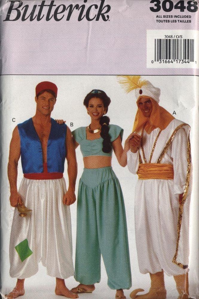 Halloween costume pattern genie Jafar Aladdin Jasmine adult XS S M L XL FF princ #Butterick