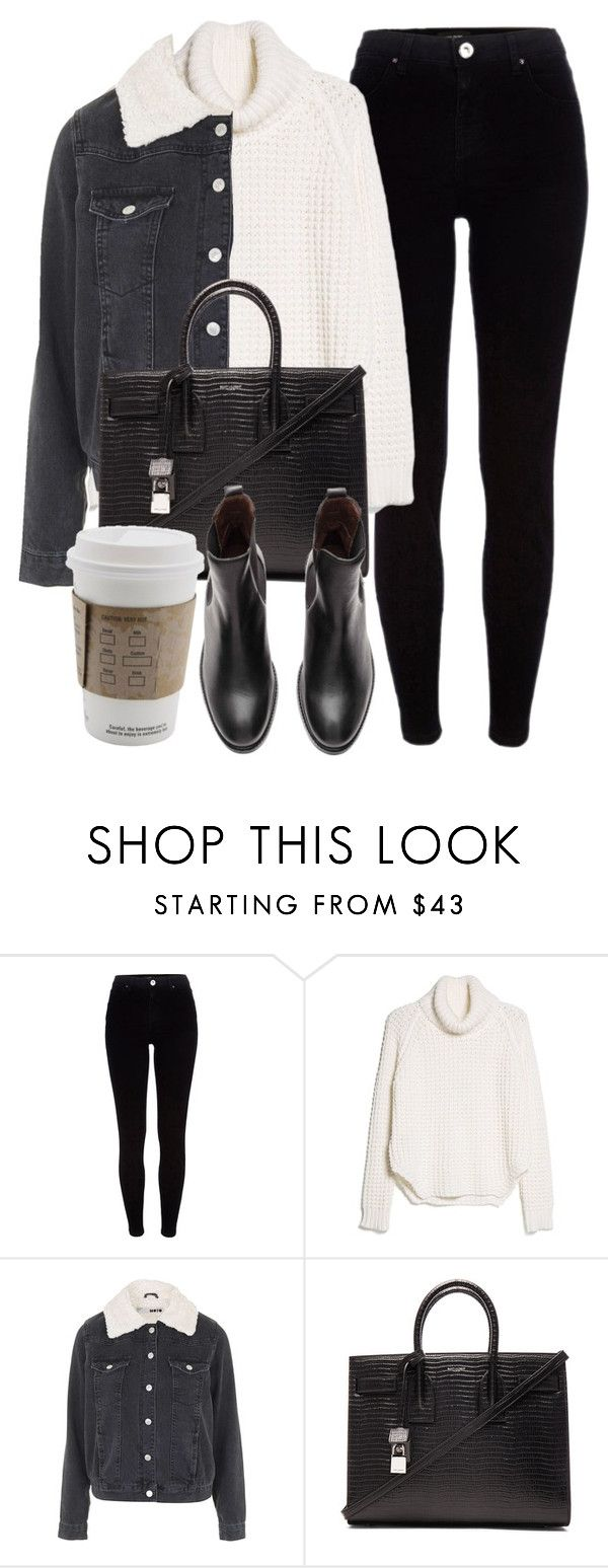 """Untitled #6283"" by laurenmboot ❤ liked on Polyvore featuring River Island, MANGO, Topshop and Yves Saint Laurent"