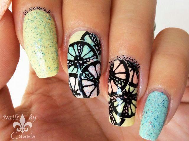 Textured Orange Stamping Mani #nails #nailart #nailstamping #moyoulondon