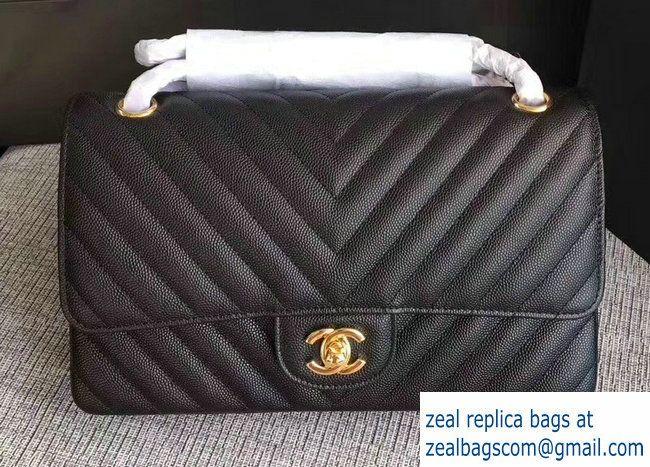 5d08dc693c37 Chanel Caviar Leather Chevron Classic Flap Medium Bag A01112 Black/Gold 2017
