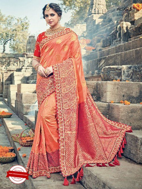 Orange Silk Wedding Saree   Shop for sarees online at www.natashacouture.com   ❤️ Call / WhatsApp / Viber : +91-9052526627   Free Shipping in India   COD*   Worldwide Shipping   Authentic Quality Guaranteed ❤️
