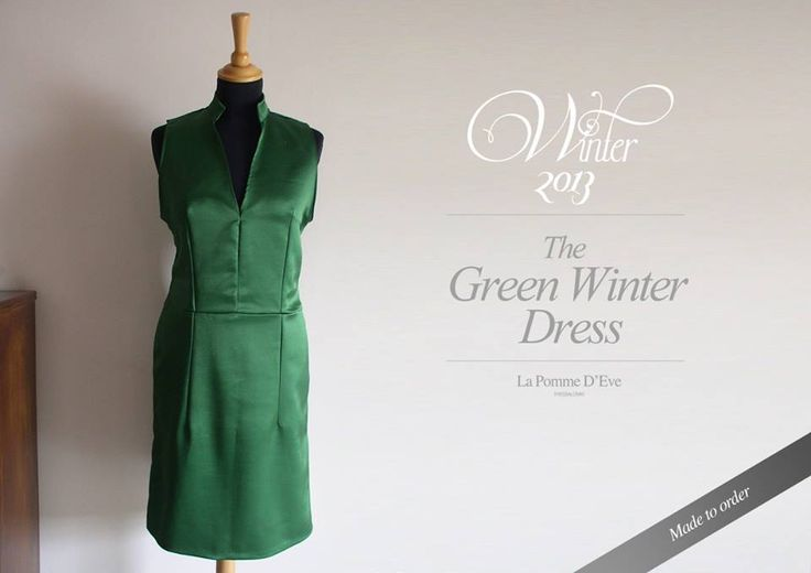 Green Winter Dress 2013-14 by La Pomme D'Eve. Made to order, made to measure