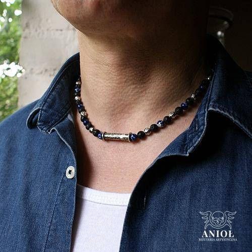 Blue jasper Lava Sterling Silver Necklace  Mens Necklace