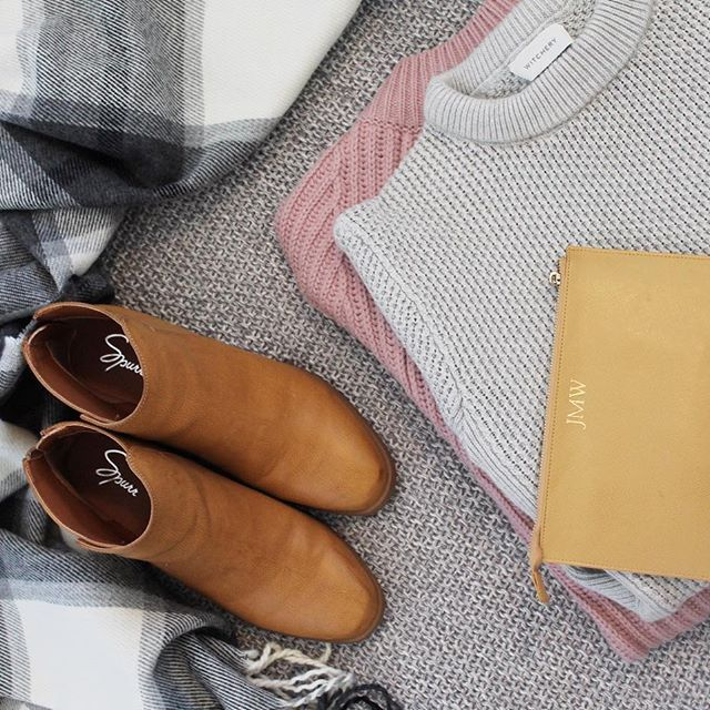 Some of my favourites this winter ❄️ I am loving my @thedailyedited pouch, @spurrshoes boots, @forevernew_official scarf and knits from @witcheryfashion and @atmosandhere! #littlelistofmine