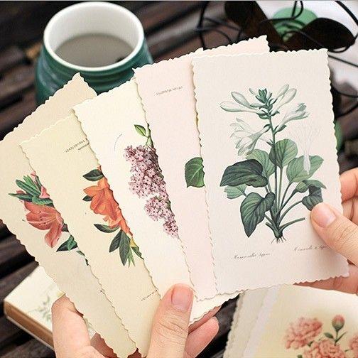30 PCS/BOX Vintage Bunga Kartu Catatan Bookmark DIY Kartu Ucapan Kartu Pos Kartu Hadiah Kantor dan Alat Tulis Sekolah