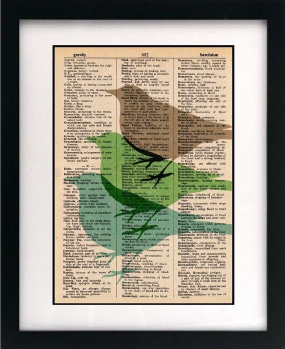 bird print on dictionary page