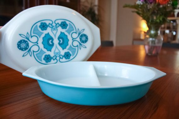 Vintage Pyrex  1970 Horizon Blue Divided by MaybourneModern, $18.00