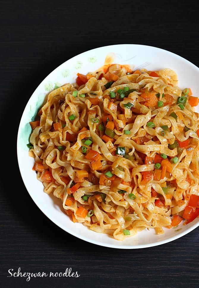 schezwan noodles recipe – Indo chinese spicy veg noodles flavored ...