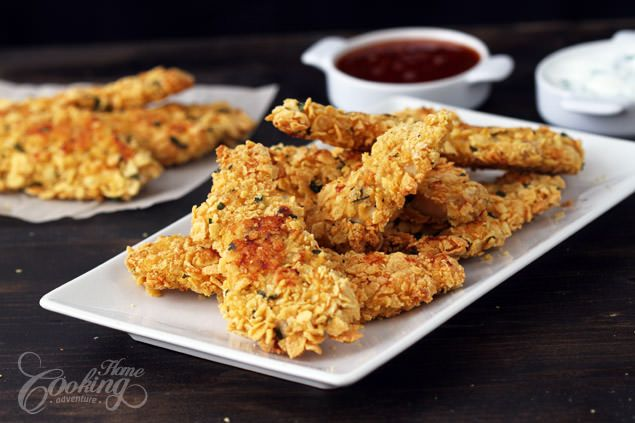Why make fried chicken when the baked cornflake crusted chicken strips looks and taste soo incredible good and are definitely a healthier alternative!