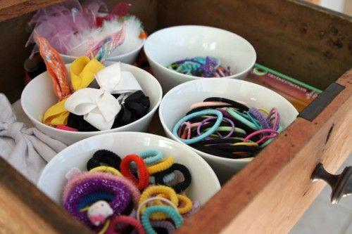 small bowls organizing hair supplies