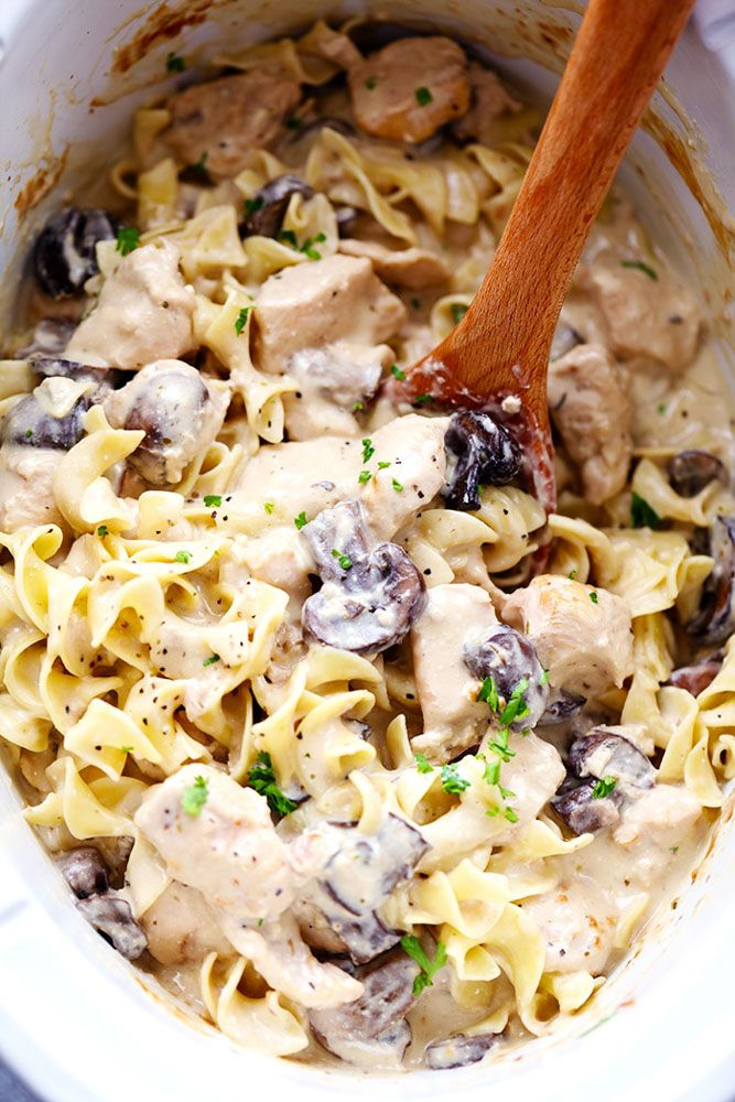 Slow Cooker Chicken and Mushroom Stroganoff takes just minutes to throw in the slow cooker! It is so creamy and ...