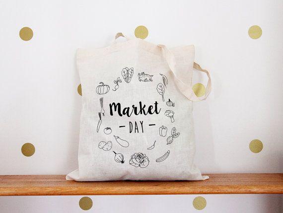 Marché jour écran imprimé sac - sac à bandoulière - Veggie cabas - sac - impression d'écran du marché.
