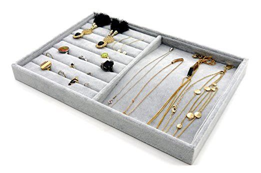 PuTwo Jewelry Box Jewelry Organizer Drawer Organizer Lint Jewelry Holder 2 Sections Trays Display - Grey