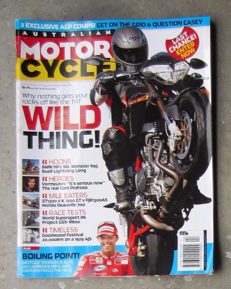 Motorcycle News AMCN Sept 2006 BMW HP2 BUELL XB12 BENELLI TNT MONSTER 695 FJR ST