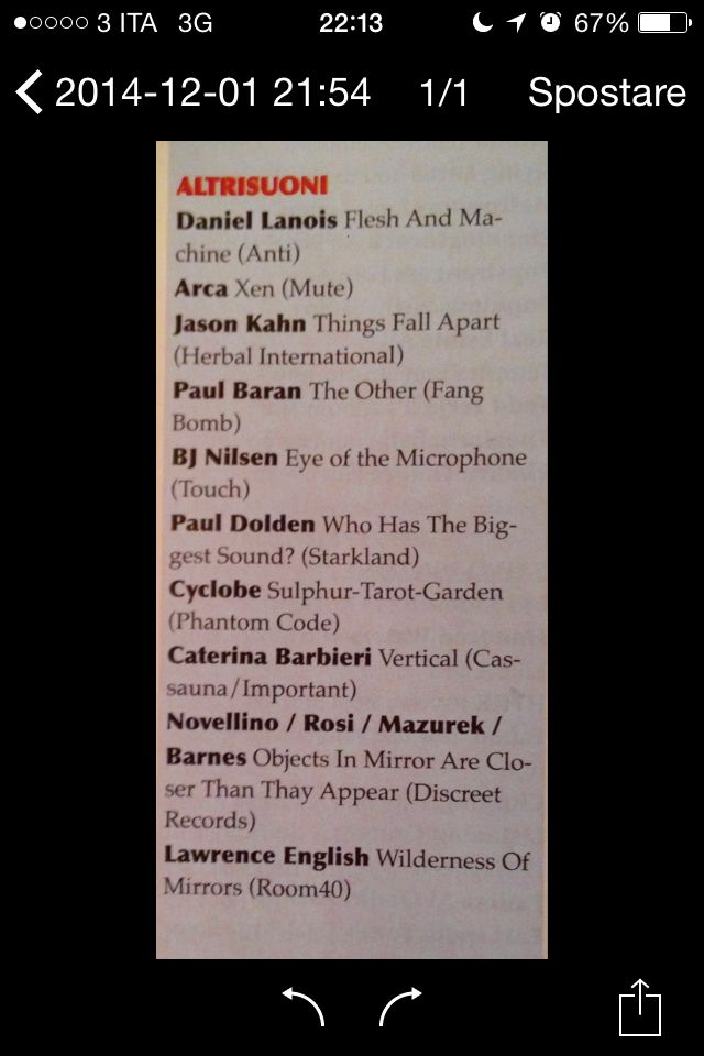 "BLOWUPMAGAZINE #199: Novellino/Rosi/Mazurek/Barnes ""Objectsinmirrorarecloserthantheyappear"": best of 2014! (Altrisuoni) Lp-drs004"