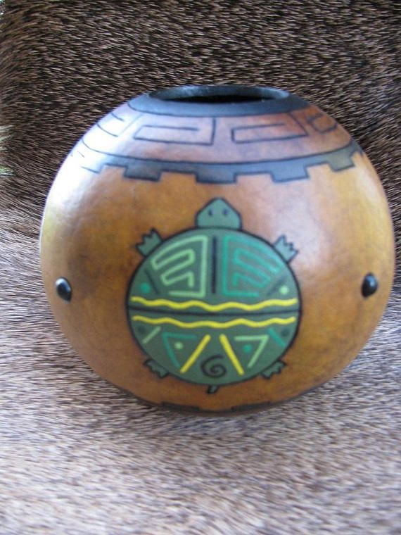 """Gourd Art , Turtle Medicine Bowl , Mother Earth , Spirit Animal , Hand Painted Gourd -- By """"Speaks With Ancestors"""" from Rainbow Artists Team on Etsy"""