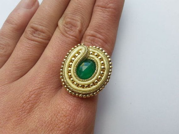 Luxury soutache ring , sterling silver , green onyx , 24 k gold filled ,universal, adjustable