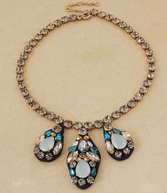 Handmade Embroidered Jewel necklace Glass Stone bib by shop2lopez, $44.49