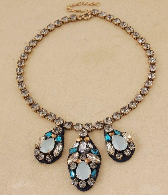 Handmade Embroidered Jewel necklace Glass Stone bib by shop2lopez, $44.49
