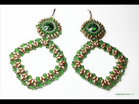 Tutorial perline, orecchini Carmen con superduo e bicono swarovski. Orecchini grandi