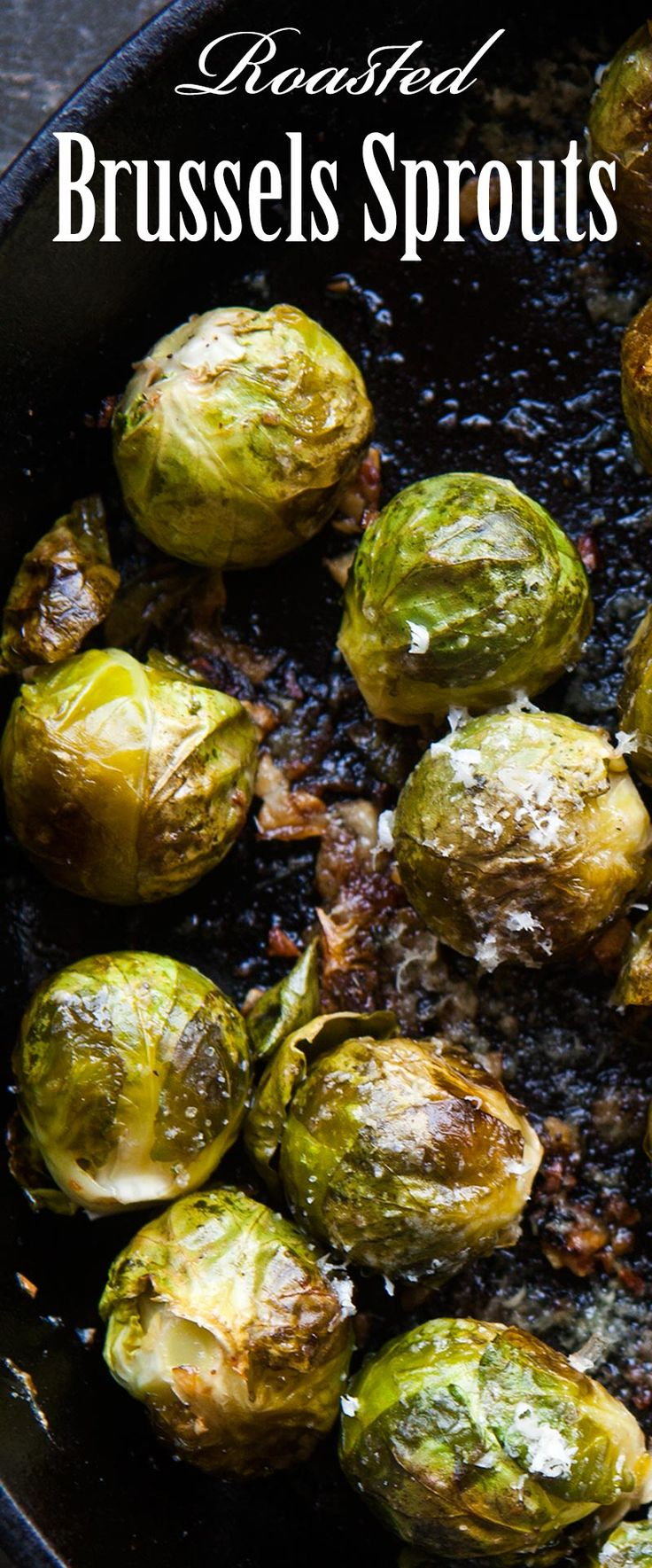 The BEST way to cook brussels sprouts? ROASTED! Like popcorn, they're so addictive. With garlic, olive oil, lemon juice, salt, and Parmesan. Perfect for your next holiday gathering.