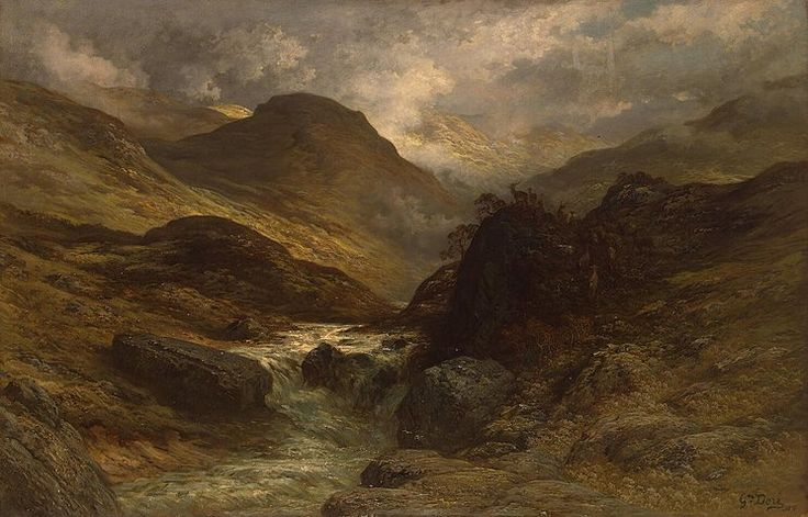 Gorge    Dore is best known today for his book illustrations, but he himself was most committed to his work as a painter. In 1873-1874 he visited Scotland, which inspired him to produce a number of landscapes, including this depiction of a steep gorge.