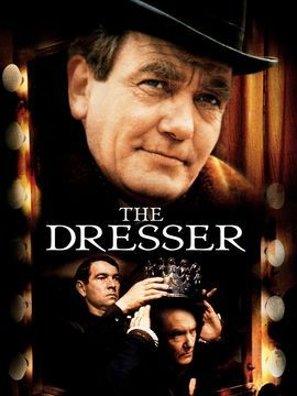 """The Dresser. 1983,dir Peter Yates.The head of a Shakespearean acting troupe touring England during WWII, """"Sir"""" (Finney) is a senile boozer, looked after by his gay dresser, Norman (Tom Courtenay). In episodic fashion, film reveals Norman's devotion to Sir & complexities of relationship btw the 2 men of theater. ..adaptation of play reveals staginess, but film saved by dynamic direction, feel of authenticity, & stars' almost hammy performances. Eileen Atkins steals film, as a pathetic stage…"""
