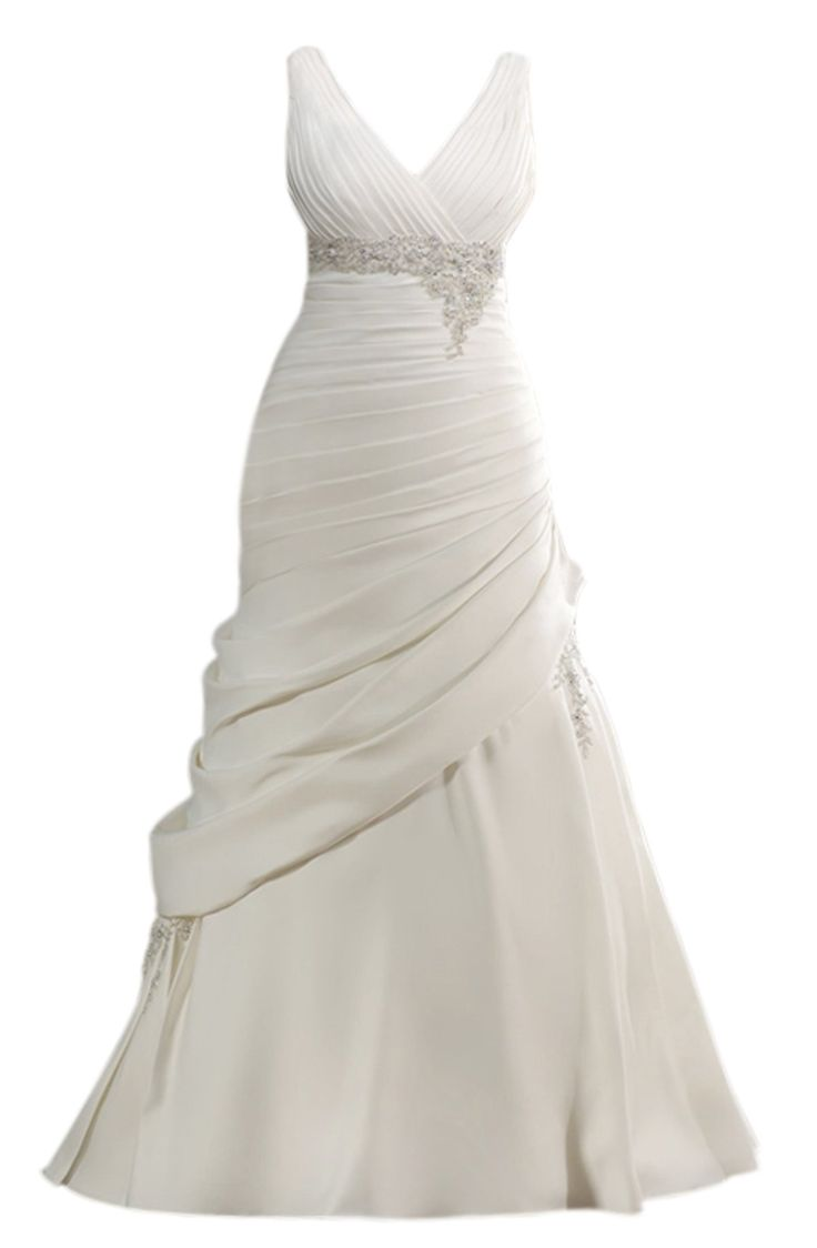 Mic Dresses Women's Gorgeous Sleeveless V-neck Crystal A-line Wedding Dress(US  White)