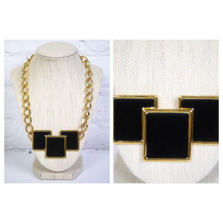 Monet Necklace Black Enamel Squares Geometric Big Gold Chain