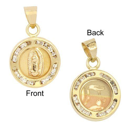 14lk Yellow Gold, Two Sided Virgin Mary Guadalupe Baptism Pendant Charm Lab Created Gems GiveMeGold. $84.32. Genuine 14k gold. NOT plated or filled.. A gift box is included with purchase. Laser engraved with precision. A great religious gift