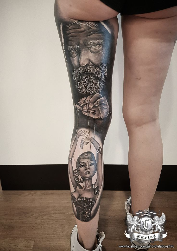Marionett,  Master of Puppets Black and Grey tattoo, Realistic tattoo