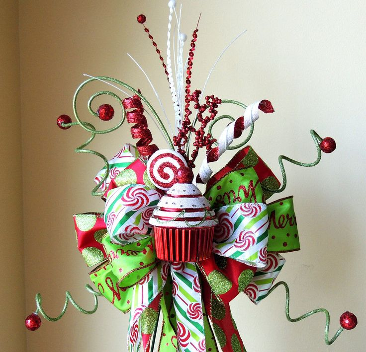 Candy Christmas Tree Topper, Christmas Tree Topper Bow, Candy Holiday Decoration, Christmas centerpiece by SparkleWithDesigns on Etsy https://www.etsy.com/listing/256306933/candy-christmas-tree-topper-christmas