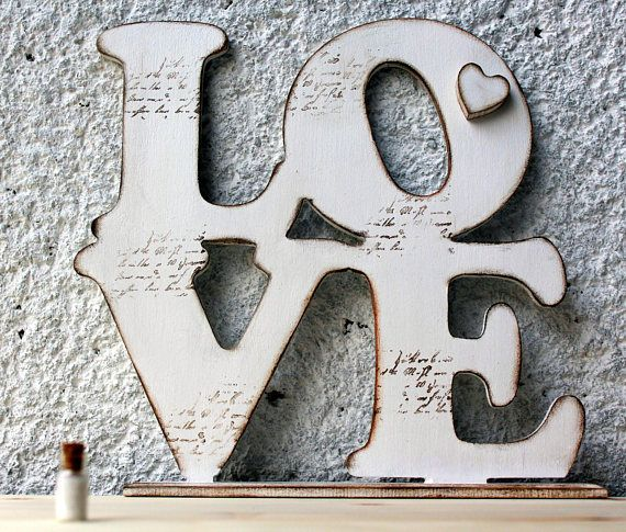 LOVE decoration, Love sign, Standing inscription, White Love